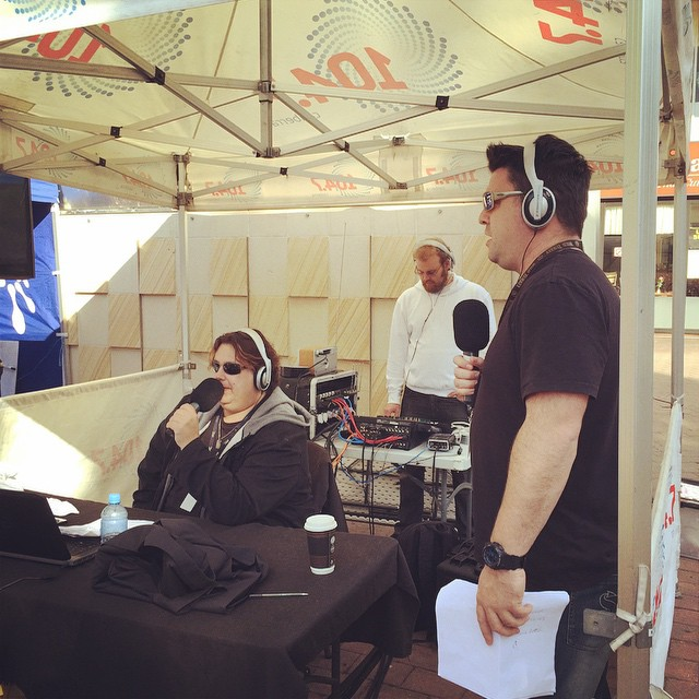 The boys at #scottyandnige broadcasting live at #garema place to raise #money for #lifeline with #LockUpYourBoss #jail #fundraising #104.7 #cbr #radio